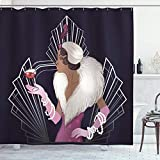 UKSILYHEART Shower Curtain 72x80 Inches Old Hollywood Bath Curtain, 1920s Style Lady with Fur Collar...