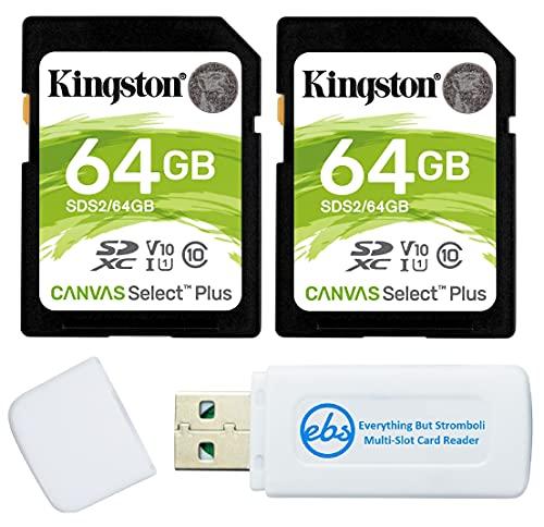 Cartão de memória SD Kingston Canvas Select Plus 64 GB para câmera (pacote com 2) Cartão SDXC Classe 10 UHS-1 U3 100 MB/s Velocidade de leitura (SDS2/64 GB) Pacote com (1) Leitor de cartão SD e Micro da Stromboli