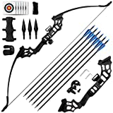REAWOW 30/40LBS Recurve Bows Archery Set,Survival Longbow Right Hand with Used for Recurve Bow Target Practice Outdoor Hunting Archery Carbon Arrows and Armguard and Finger Tab.