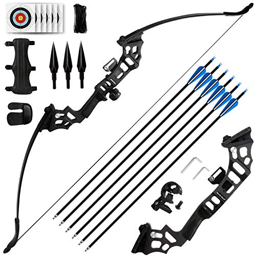 REAWOW 30/40LBS Recurve Bows Bogenschießset,Survival Longbow Right Hand mit verwendet für Recurve Bow Zielübungen Outdoor Hunting Archery Carbon Arrows und Armguard und Finger Tab.