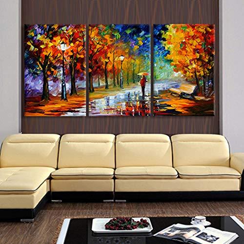Kunstdruk op canvas, 3 panelen, modern, abstract, decoratie thuis, voor woonkamer, opdrukken op canvas, voor heren, met paraplu 40x60cmx3