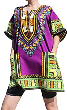 RaanPahMuang Branded Dashiki Short Mini Dress Summer Long Cut Shirt Africa Plus XXX-Large Purple