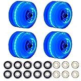 Marbe Roller Skate Wheels Outdoor Radar Energy Wheels with Light Up Quad Skate Tool Rollerskate,4 Pack Wheel 32mmX58mm/10 Pack 608 Bearing /6 Pack core (Blue)