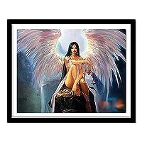 大人のためのDIY5Dダイヤモンド絵画 ビーズ付きキッズ5Dダイヤモンド刺繡のためのアート 宗教的な天使の羽(30x40)CM
