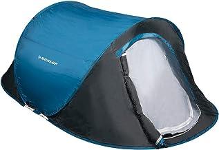 Dunlop Tenten, pop-up, koepeltent, camping, outdoortent, blauw/grijs, voor 1-2 personen