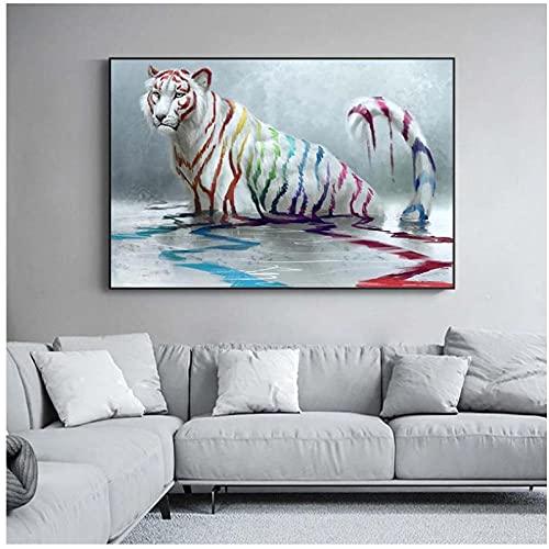 DXYM Abstrakter weißer Tiger mit bunten Streifen Wohnkultur Ölgemälde auf Leinwand Poster und Drucke Wandkunst Tier Bild 60 * 90cm ungerahmt