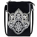 Small Crossbody Purse For Women With Cell Phone Holder Faux Leather Shoulder Bag Back Pocket for Phone LightWeight Passport MWUSA-PH02-214 BK