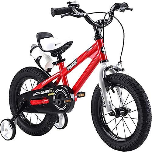 WXX 12/14/16/18 Pulgadas Estilo Libre del Marco de Acero Kids Bike Show 3-16 Año Vieja Bicicleta de bebé con Estabilizador de la Caldera y el Soporte,Red,16 Inch