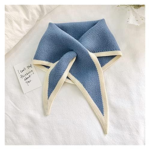 YALI Contraste Color triángulo Cuello Bufandas de Punto Bufanda Cuello Chal de Invierno para Mujeres 210822 (Color : E, Size : Small)