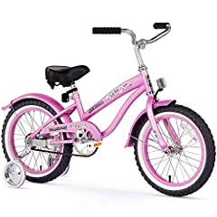 16-inch girl's single-speed cruiser bike ideal for kids just learning to ride Includes easy-to-install training wheels, plus front and rear fenders Balloon tires for a cushioned ride; easy-to-use coaster brakes Oversized seat with dual springs for ad...