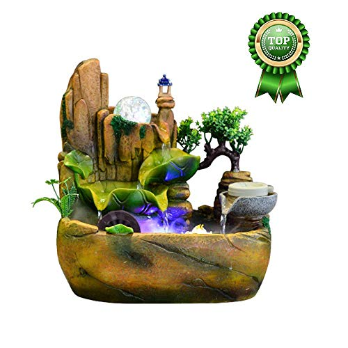 CHHD Indoor Water Fountain,Desktop Water Fountain, Indoor Simulation, Desk Micro Landscape Decoration, Water Pump Included, Festival Gifts,Without Nebulizer