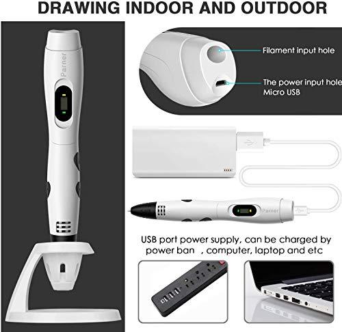3d stifte, Parner 3D Stift mit 12 Verschiedenen PLA Farb Ersatzminen, 3D Pen für Kinder Sicher und Einfach zu Benutzen, 3D Stifte Set für Jung und Alt - 4