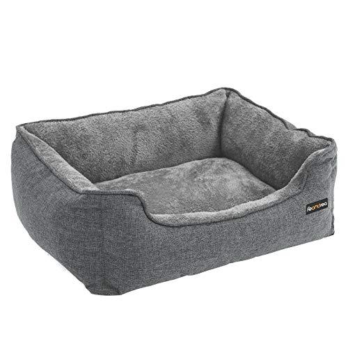 FEANDREA Hundebett, Hundesofa, Bezug abnehmbar, maschinenwaschbar, grau PGW10GG