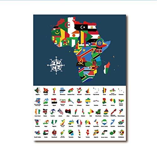 RuiChuangKeJi Art Poster Kaart van Afrika Gemengd met Landen Vlaggen Prints Verzameling van alle Afrikaanse Kaarten Gecombineerd Canvas Schilderen Home Decor 19.7