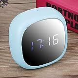 Taidda- Reloj silencioso Digital Superficie de Espejo Reloj de Mesa de Material ABS, Despertadores Digitales, para Oficina, Estudiantes, Dormitorios, Sala de Estar(Blue)