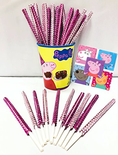 Peppa Pig Inspired Party Favor Bling Cake Pop Sticks - Hot Pink & Light Pink Glam for Lollipops, Cake Pops & All Things Party! Plus Bonus Birthday Child Keepsake Cup & Peppa Pig Sticker Favors!