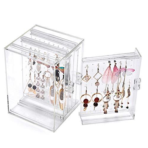218 Agujeros de plástico Pendiente de exhibición del Caso del Organizador Titular de la joyería Caja de Almacenamiento con 3 cajón Vertical Transparente