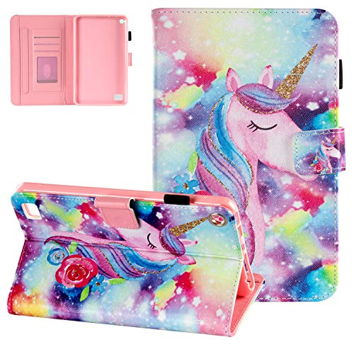 Kindle Fire 7 Case 2019/2017/2015, UGOcase Slim Folio PU Leather Protective Auto Sleep Wallet Cover for All-New Amazon Fire 7' Display (9th Gen 2019 & 7th Gen 2017 & 5th Gen 2015) - Watercolor Unicorn