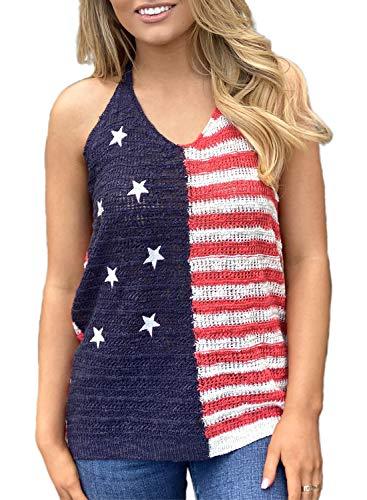 Amerikanische Flagge drucken Tank Tops Frauen USA Sterne Streifen T-Shirt Sommer lose Weste T-Shirts