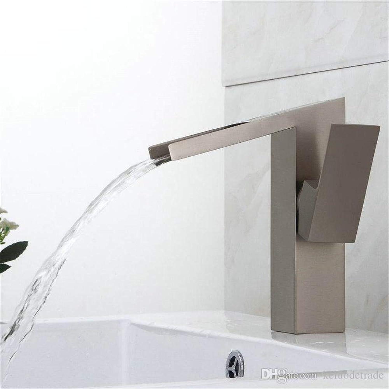 Willsego Wasserhahn Modernes Quad-Quadrat schrg EIN Loch Wasserfall Massivem Messing Waschbecken Wasserhahn (Farbe   -, Gre   -)