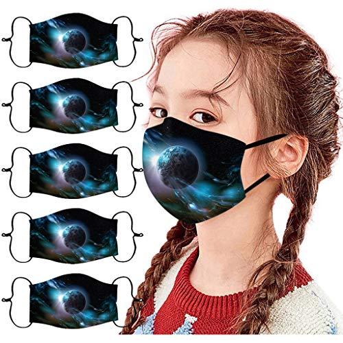 POTOU 5 Stück Kinder Atmungsaktiv Baumwolle Sternendruck Draussen Staubdicht Lieferungen, Waschbar und Wiederverwendbar