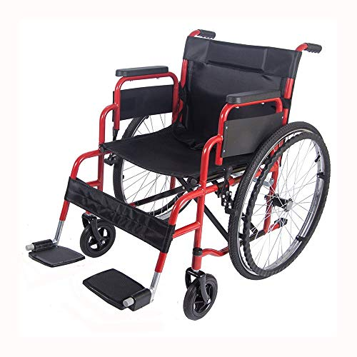 Folding Wheelchair Self Propelled Lightweight Transit Footrest Armrest Brake Large Wheel Mobility Aid from FreeToBe (Red)