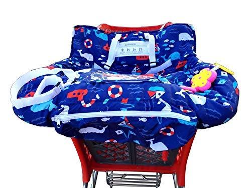 Chamssy* - Copripasseggino per bambini, con borsa per il trasporto, con cinghie di sicurezza per bambini, igienico, pratico, lavabile, pieghevole, portatile, colore: blu