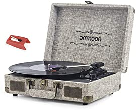 Vinyl Record Player, ammoon 3 Speed Turntable Blue Tooth Record Player with 2 Built in Stereo Speakers, Replacement Needle, Supports RCA Line Out, AUX in, Headphone Jack, Vintage Suitcase