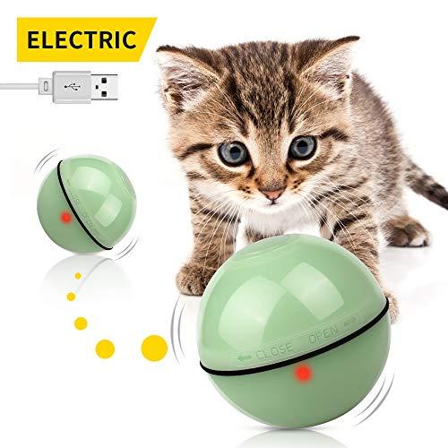 KINGOD Katzenspielzeug Elektrisch Ball, Katzen Spielezeug Katzenspielzeug Elektrisch mit LED Licht, USB Wiederaufladbare Katzenball Interaktives Spielzeug für Katzen Katzenspielzeug Beschäftigung