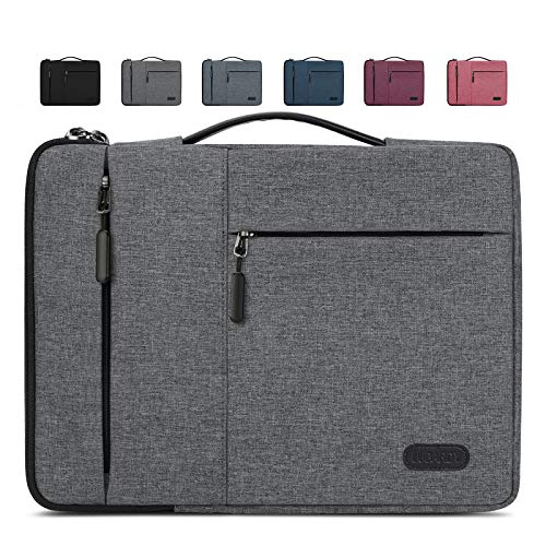 Lubardy Laptop Sleeve Case 13-14 Inch Water Repellent Laptop Cover Shock Resistant Compatible with MacBook Air/ Pro Notebook Protective Bag Light Grey