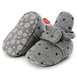 Timatego Newborn Baby Boys Girls Booties Stay On Socks Non Skid Soft Sole Infant Toddler Warm Winter House Slipper Crib Shoes 0-18 Months, Baby Booties 0-6 Months Infant, 02 Grey Star