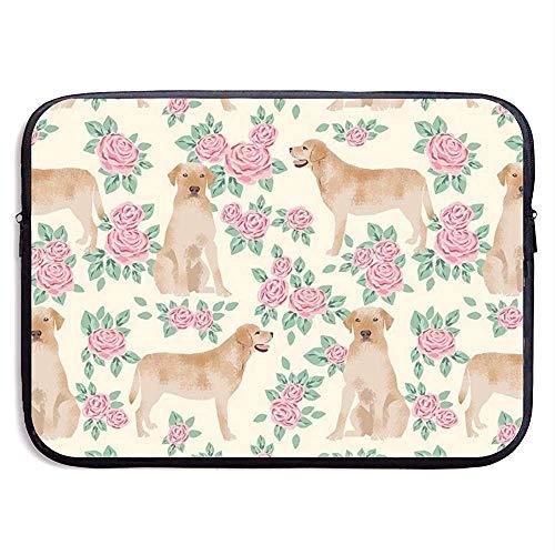 Yellow Lab Stoff Yellow Labrador Retriever Florals Rose Creme Laptoptasche Tragbarer Reißverschluss Laptoptasche Tablet-Tasche, 15 Zoll