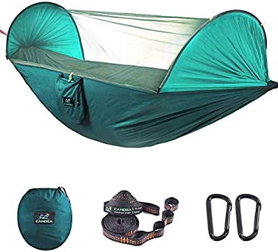 CAMDEA Camping Hammock with Mosquito Net for 2 Person, Ultra Lightweight Portable Camp Single/Double Hammock with Bug Net, Windproof Hammock Tent Swing for Sleeping, Garden, Travel, Outdoor, Sport