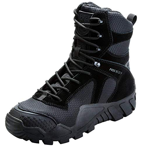 FREE SOLDIER Botas de Caza para Hombres Botas Militares de Combate de Tiro Alto con Cordones Zapatos Ligeros para Todo Terreno para Senderismo, Trabajo, Selva(Nergro,39)