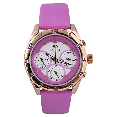 Marea Reloj de pulsera multifunción para mujer, analógico, con mecanismo de cuarzo, correa de piel, color blanco/morado/oro rosa