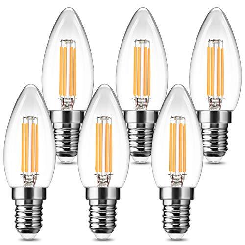 Fulighture Glühbirne E14,Glühbirne Vintage,E14 Led Lampen 2700k Warmweiß, 4W Ersetzt 40W,400 LM, Glühbirne Vintage Ideal für Nostalgie und Retro Beleuchtung,Nicht Dimmbar, 6 Stück
