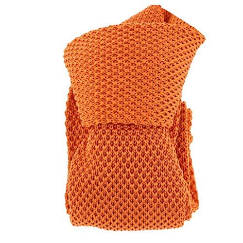 Clj Charles Le Jeune. Cravate tricot. Dandy Farmer, Microfibre. Orange, Uni.