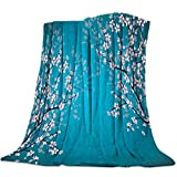 Heart Pain Soft Flannel Fleece Blanket Cherry Blossoms Breathable Throw Blanket Pink Blue Cozy Blanket for Couch Sofa Bed Living Room Suitable for All Season - 40x50 inch