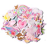 Navy Peony Magical Rainbow Unicorn Stickers (34 Pieces)   Cute Sticker Pack for Party Favors and Scrapbooking   Waterproof Princess Stickers for Girls
