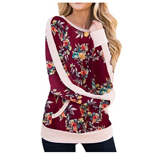 LSAltd Winter Frauen Süße Tarnung Blumendruck Patchwork Sweatshirt Bluse Casual Splice Langarm Rundkragen Pullover Tops Mit Tasche