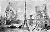Fototapete selbstklebend Paris - schwarz weiß 230x150 cm -