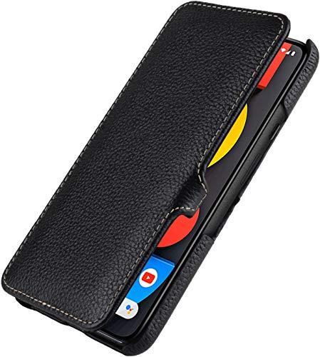 StilGut Book Hülle kompatibel mit Google Pixel 5 Hülle aus Leder mit Clip-Verschluss, Lederhülle, Klapphülle, Handyhülle - Schwarz