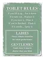 Toilet Rules 金属板ブリキ看板警告サイン注意サイン表示パネル情報サイン金属安全サイン