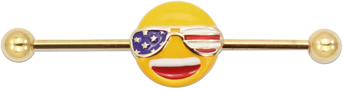 emoji Gold Stainless Steel 14G Industrial Barbell Ear Piercing Patriot Smiley American Flag Body Piercing Jewelry Women 1 1/2