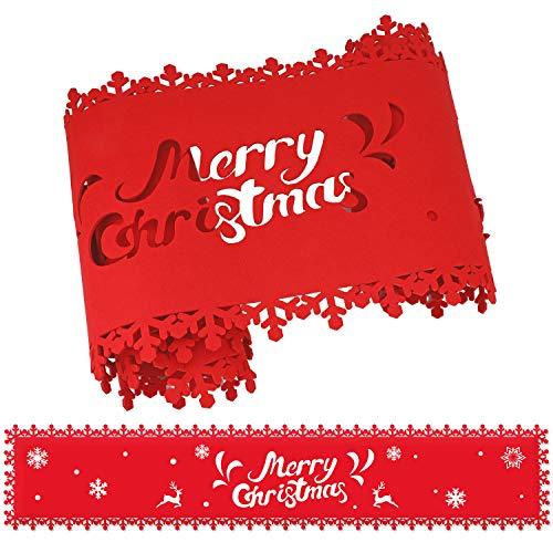 HOWAF Frohe Weihnachten Rentier Schneeflocke Tischläufer Rot Weihnachts Tischband Tischdecke für tischdeko Winter Weihnachtsdeko, Filz, (38 × 180 cm)