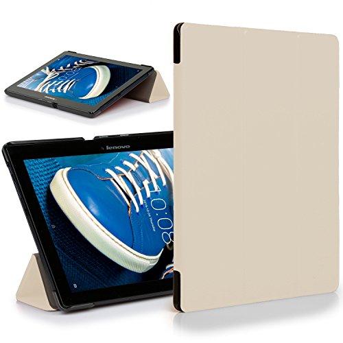 Forefront Cases® Lenovo Tab 2 A10-70 / Tab 2 A10-70L / Tab 2 A10-70F Hülle Schutzhülle Tasche Smart Case Cover Stand - Rundum-Geräteschutz und intelligente Auto Schlaf/Wach Funktion (WEIß)