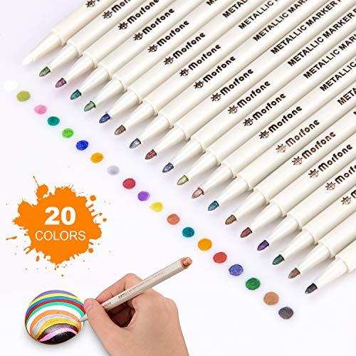 Morfone Metallic Marker Stifte,20 Farben Permanent Metallischen Marker pens für Kartenherstellung DIY Fotoalbum Gästebuch Gebrauch auf irgendeiner Papier, Glas, Kunststoff, Keramik, Stein, Holz(1MM)