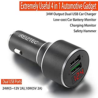 Car Charger,Dual Car Charger Adapter with 12v USB Ultra High Capacity QC3.0/2.1A Ports Fast cell phone car charger rapid for iPhone XS/Max/XR/X/8, iPad/Air 2/Mini,Galaxy Note8/9,S9/S9+ More,Dark Gray