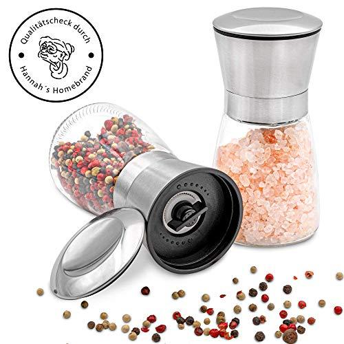 Hannah\'s Homebrand® Salz und Pfeffer Mühle mit Keramik-Mahlwerk (härter als Stahl) - Moderne Salzmühle und Pfeffermühle aus Edelstahl & Glas - deutsche Marke