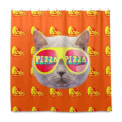 OOWOW Duschvorhang lustige Katze Pizza Muster Badvorhang mit Kunststoffhaken, langlebig, wasserdicht, Duschvorhang-Set für Badezimmer Badewanne Stall Hotel Decor 182,9 x 182,9 cm